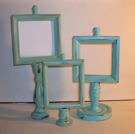 3  Beach Themed Up Cycled Candle Stick Picture Frames Robins Egg Blue Sea Foam Green