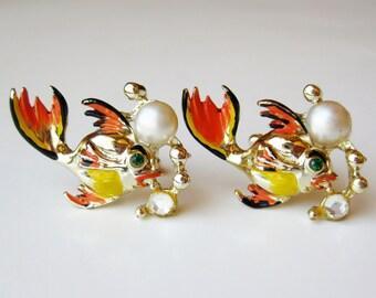 Vintage 50s Gone Fishin' Hand Painted Pearl & Rhinestone Goldfish Cufflinks