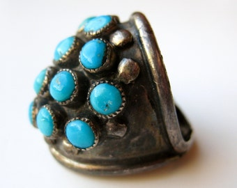 Vintage Ring Sterling Silver Turquoise Navajo American Indian Ring Band size 6 1/2