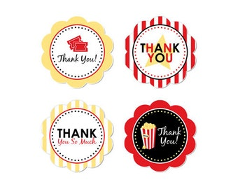 50% Off Sale! - PRINTABLE Movie Night Party Thank You Circles - INSTANT DOWNLOAD