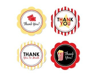 PRINTABLE Movie Night Party Thank You Circles - INSTANT DOWNLOAD