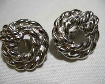 Vintage MONET Silver Tone Wreath Ear Cllps