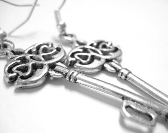 Skeleton Key Jewelry - Sterling Silver Key Earrings - Teen Jewelry Trend - Gift For Teen Girls 115