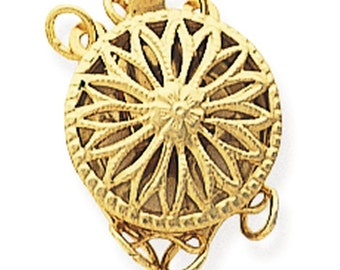 14/20 Yellow Gold-Filled Filigree Round Safety Clasp 1-3 strand option