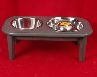 Elevated Dog Feeder Solid Oak Wood 8 High 4 Cup Slow Feed Bowl FREE NAME and STAIN