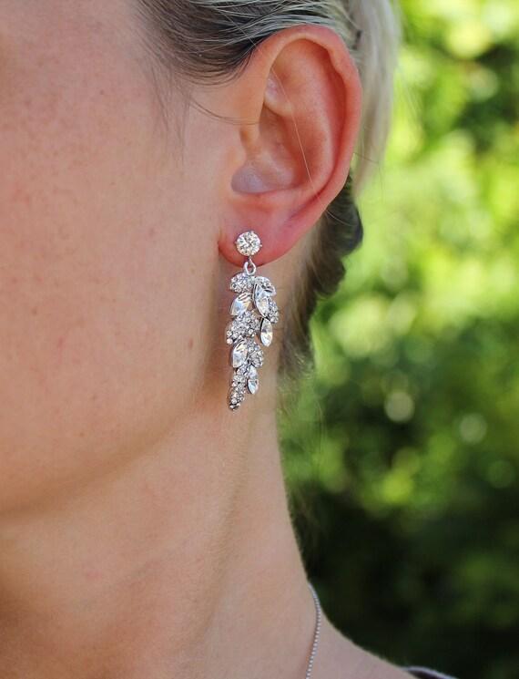 Crystal Leaf Bridal Earrings Bridal Chandelier