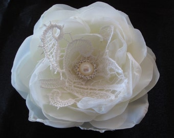 Wedding hair accessory, Bridal Hair clip, facinator fabric flower in ivory or white