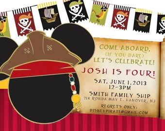 Pirate Mickey Mouse Birthday Invitation, Printable Mickey Pirate Invitation, Pirate Invitation, diy print invites,