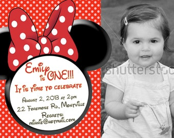 Red Minnie Mouse Invitations with photo - Birthday Invitations - print yourself file - minnie mouse invite - minnie photo invitation