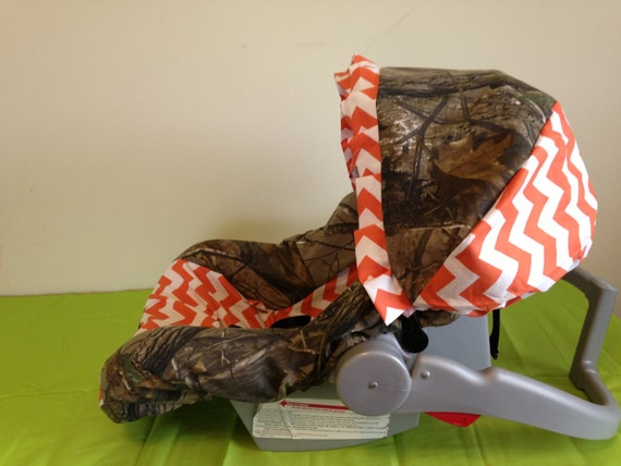 Orange Chevron Amp Realtree Camo Fabric Infant Car Seat Cover