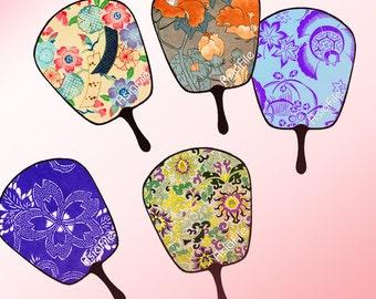 Printable  Digital Collage Sheet- Digital Art - Asian - Fans - Instant Download -  Embellishments - Scrapbooking - Japanese Designs - CS 24