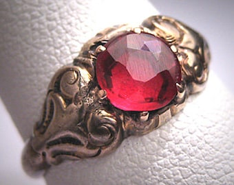 Antique Ruby Wedding Ring Vintage Victorian Georgian