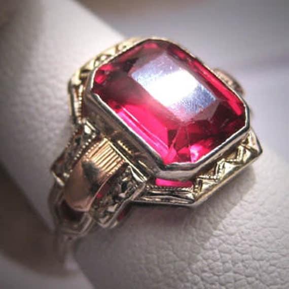 Antique Ruby Ring Vintage Art Deco Wedding White Gold 6