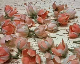 Silk Flowers - 30 Artificial Anemone Buds in Shades of PEACH - Artificial Flowers