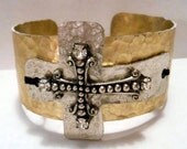 Junk Gypsy Style Hammered Cuff, Silver Crosses and Vintage Rhinestones-Rustic, Country, Rockabilly, Cuff Bracelet