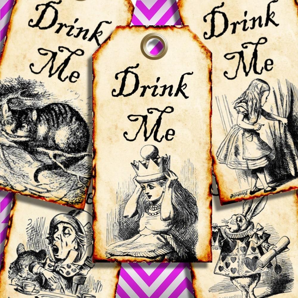 Drink Me Alice In Wonderland Favor Tags Digital Collage Sheet