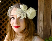 Flapper - 20s - Inspired Wedding Tie Headband With Vintage Lace, Handmade Organza Roses And Russian Veiling