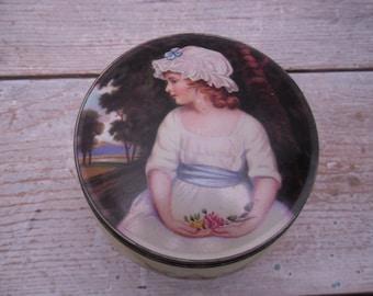 portrait tin box / toffee tin / england