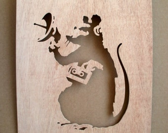 Banksy Radar Rat Wooden Stencil