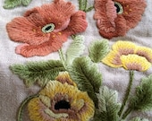 Vintage Crewel Embroidered Art  Fabric Wall Hanging with Peach Coral abd Yellow Poppy Flowers and Tassel Detail