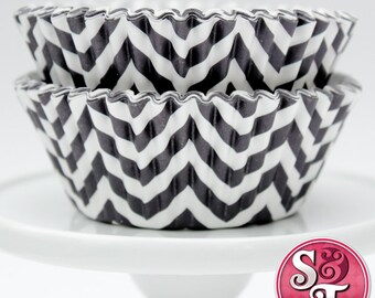 Chevron Black GREASEPROOF Zigzag Baking Cups Cupcake Liners - Quantity 50