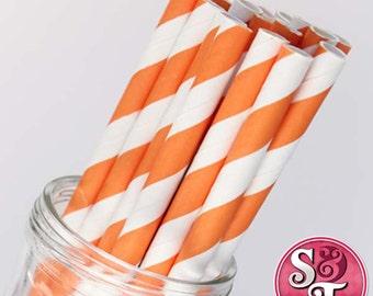 Stripe Orange Party Paper Straws - Cake Pop Sticks - Pixie Sticks - Qty 25