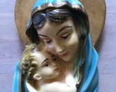 Vintage Religious Madonna & child chalkware wall hanging