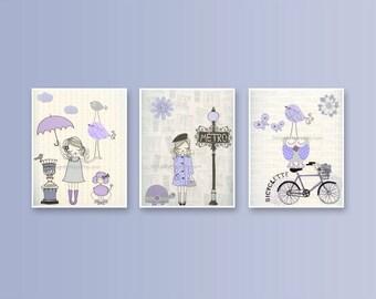 Nursery wall art print, Baby room decor, Baby girl, Paris Metro, set 3 prints shabby chic, vintage style nursery, lilac, lavender and gray
