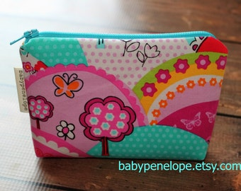Padded Cosmetic Bag/ Gadget Case - Happy Hills - Ready to Ship