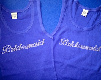 Bridesmaid Shirt. Royal Blue Bridesmaid Tank Tops. Bridesmaid Rhinestone Shirts. Bride and Bridesmaid Tank Tops. Bridesmaid Gifts.