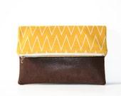 chevron and vegan leather foldover clutch purse / saffron mustard brown / faux leather / spring summer fashion