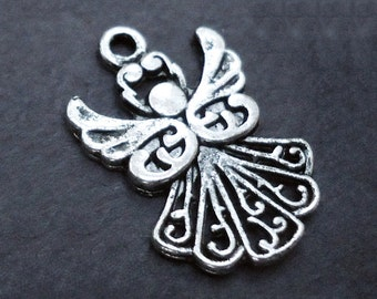 Small Antique Silver Angel Charms - Bulk Sets of 20, 50, or 100