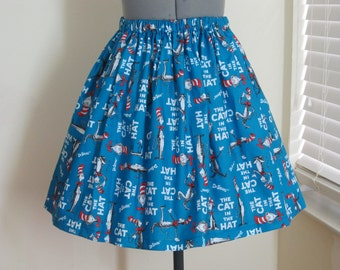 The Cat in the Hat Skirt - Full Gathered Skirt - Celebrate Dr. Seuss - Ready to ship sizes X-Small-Large