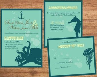 Wedding Invitation Set Digital Files Octopus Steampunk Nautical Beach