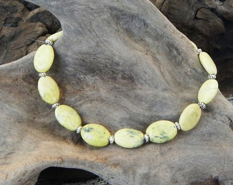 """Light yellow green African turquoise bracelet 9"""" long semiprecious stone jewelry packaged in a gift bag 10249"""
