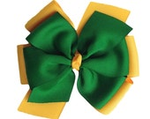 Green Bay Packers Bow - Emerald Green Yellow Gold Layered Hair Bow - Oregon Ducks - Extra Large Pinwheel Bow - Kelly Green Yellow - Etsykids