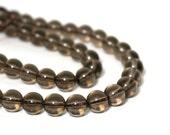 smokey quartz beads, 8mm round gemstone beads, full or half strands available  (676S)