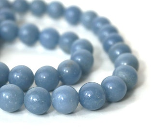 10mm Angelite beads, round natural blue gemstone, full & half strands available  (725S)