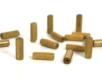 Brown Wood Tube Beads, 15mm x 5mm handcut tubes, 100 wooden beads (799R)