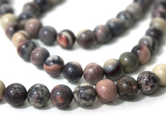 6mm Porcelain Jasper beads, Mexican Terra Rosa,  round gemstone bead, full & half strands are available  (881S)