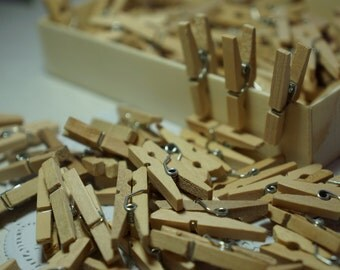 20/50/100 x Natural Raw Birch Wood Mini Pegs 25mm *Tags*Favours*Bunting*