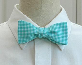 Men's Bow Tie in bright aqua mini gingham plaid (self-tie)