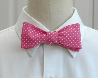 Men's Bow Tie in hot pink with white mini dots (self-tie)