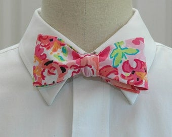 Lilly Bow Tie in call me kitty cat pinks and green (self-tie)