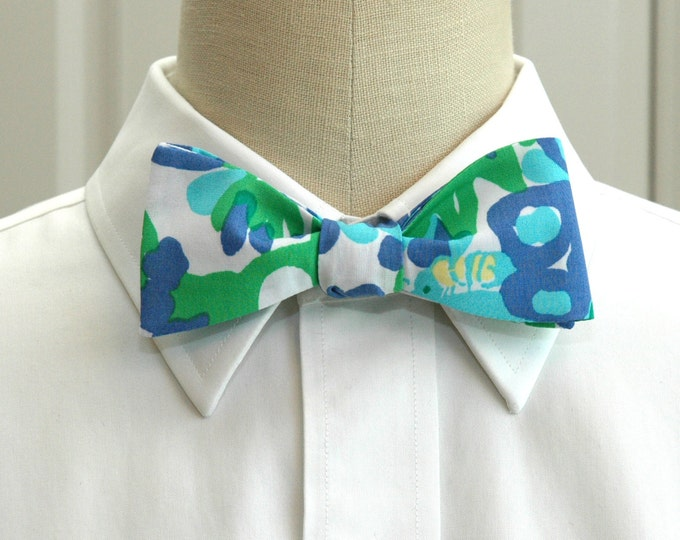 Men's Bow Tie, Bees in your Bonnet  blue and green floral Lilly bow tie, wedding bow tie, groom bow tie, cool groomsmen gift, prom bow tie,