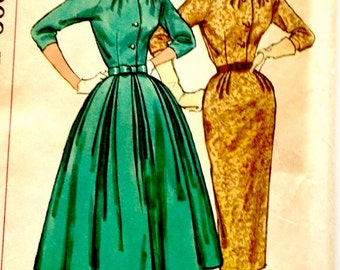 50s Simplicity 2181 Wiggle or Full Skirt  Dress with Neckline Interest - Size 18 Bust 38