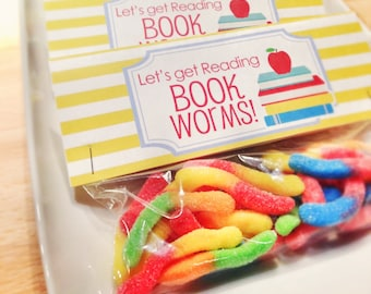 INSTANT Download-Back to School Treat Bag Tags: Book Worm! -Printable PDF