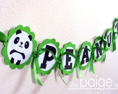 Panda Bear Name Banner in Bright Green with Black & White