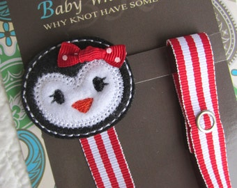 Girl Penguin Pacifier Clip, Red Candy Stripe Pacifier Clip, Christmas Penguin Pacifier Clip, Pacifier Holder, pcpenguin03