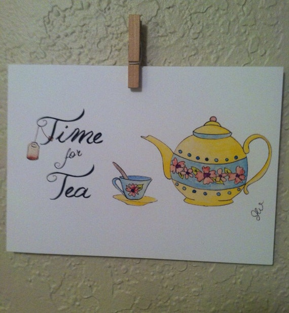 Time For Tea Teapot Illustration 8x10